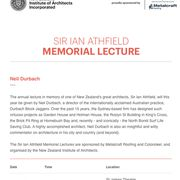 Sir Ian Athfield Memorial Lecture