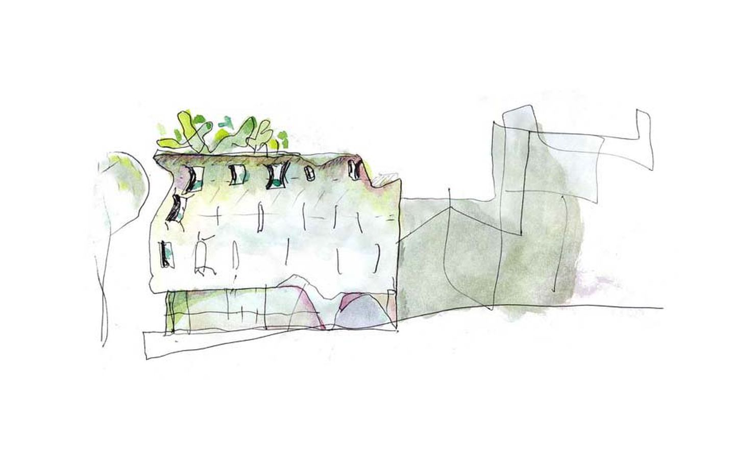 Hand drawn watercolour sketch of office building in Potts Point Sydney designed by Durbach Block Jaggers Architects