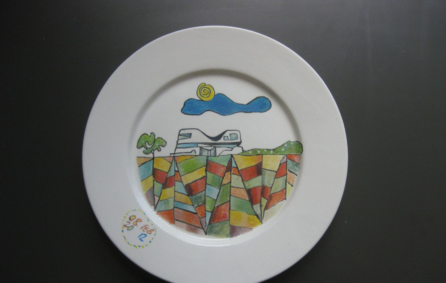 White dinner plate with sketch of North Bondi Surf Club Sydney designed by Durbach Block Jaggers Architects