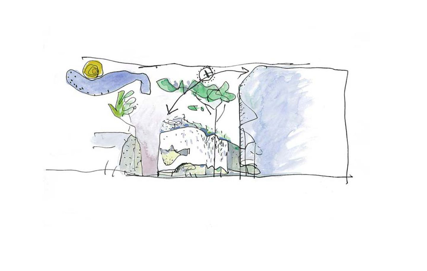 Hand drawn watercolour concept sketch of university campus for UTS in Ultimo Sydney designed by Durbach Block Jaggers Architects