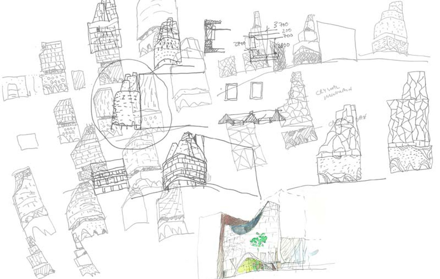 hand drawn concept sketches of commercial tower in Sydney Australia designed by Durbach Block Jaggers Architects