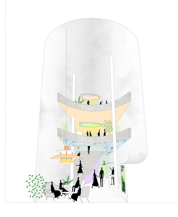 Sketch cartoon of lobby interior of winning competition entry of a high rise pencil tower designed by Durbach Block Jaggers Architects