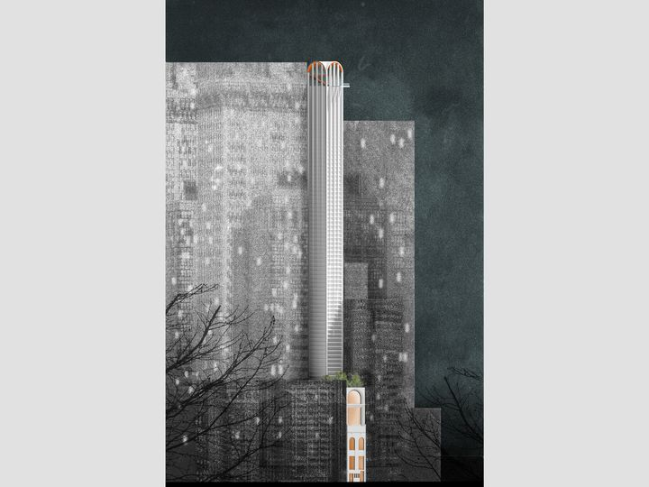 Winning competition entry for a high rise pencil tower competition at Pitt Street Haymarket Sydney designed by Durbach Block Jaggers