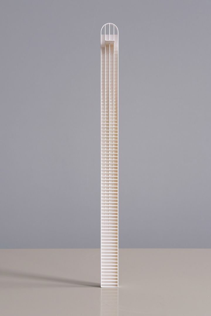 Concept model of winning competition entry of a high rise pencil tower designed in Pitt Street Sydney by Durbach Block Jaggers Architects